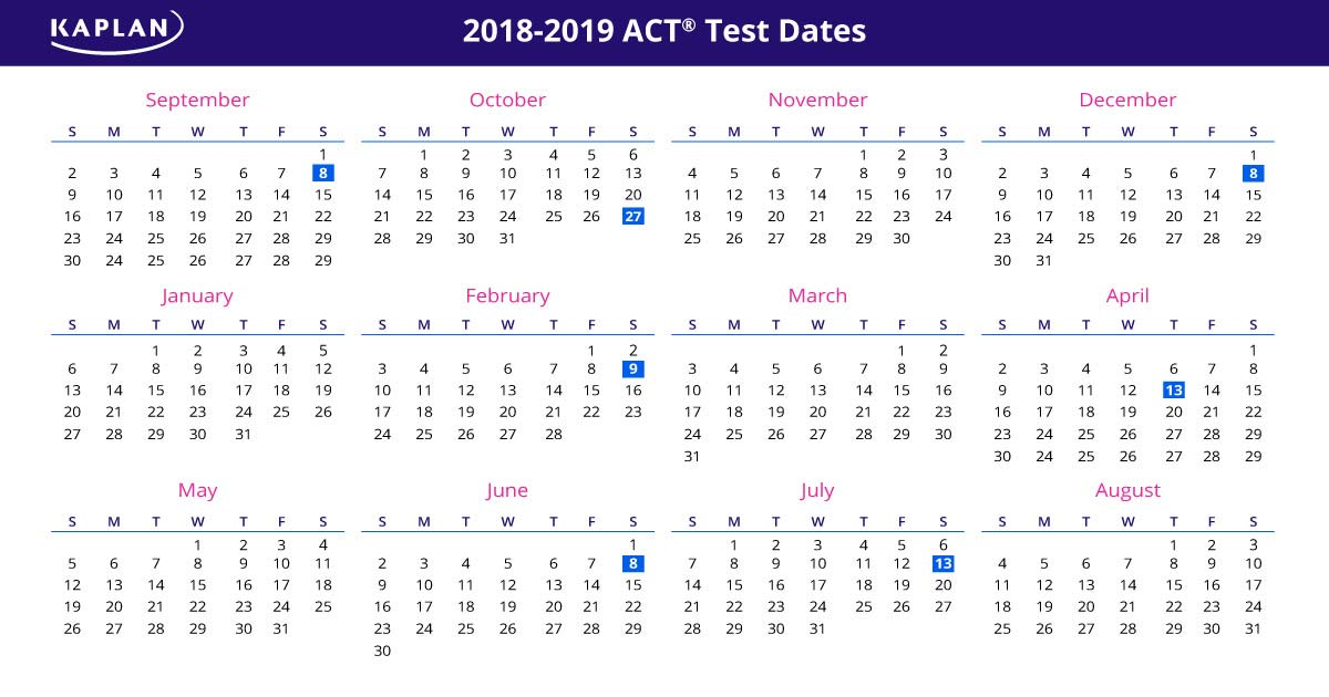 act test dates 2018 19 registration dates fees kaplan test prep