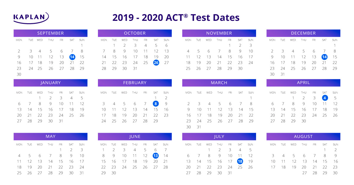 Act Calendar 2019 ACT Test Dates 2019   20: Registration Dates & Fees | Kaplan Test Prep