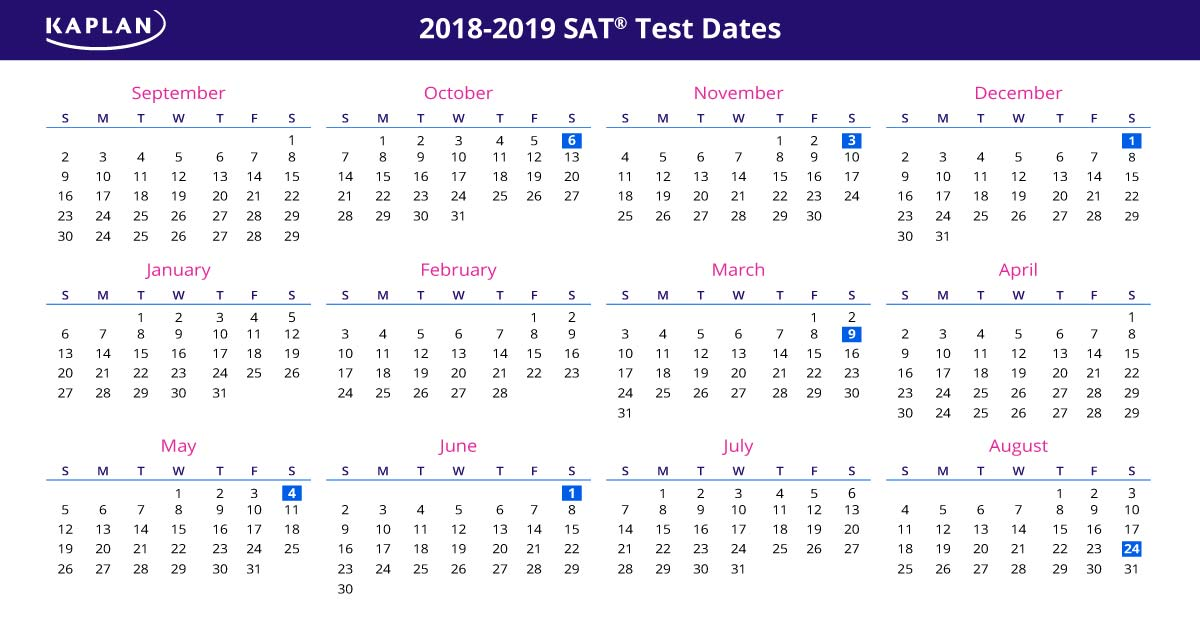 SAT Test Dates 2018 - 19: Registration Dates & Fees ...