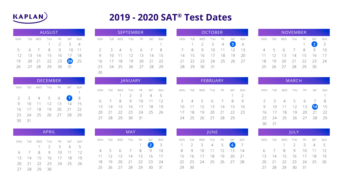 SAT Test Dates 2019 - 20: Registration Dates & Fees | Kaplan Test Prep