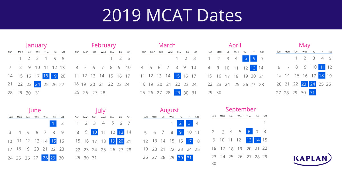 Mcat dates 2019 in Sydney